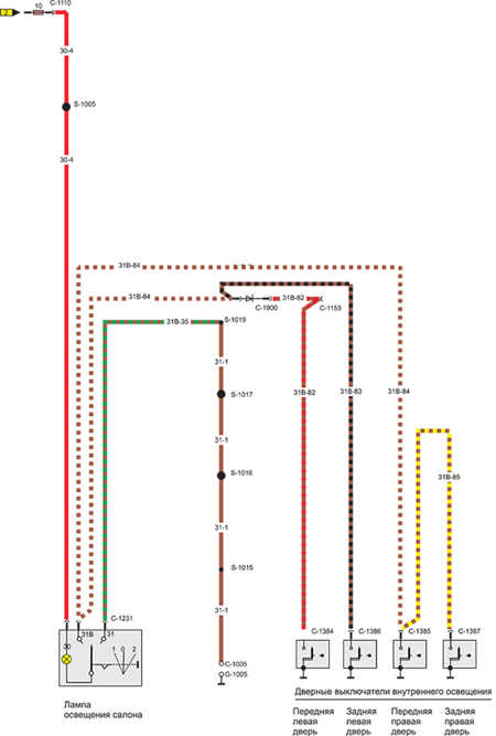 Схема электрического контура внутреннего освещения .  14.14.11 Электросхема 11.