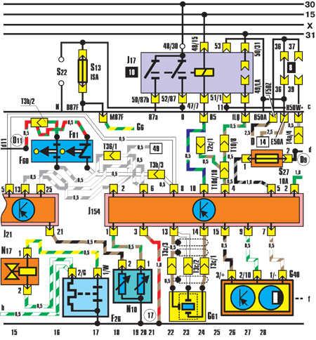 На автомобилях Passat применяется однопроводная схема включения приборов электрооборудования.