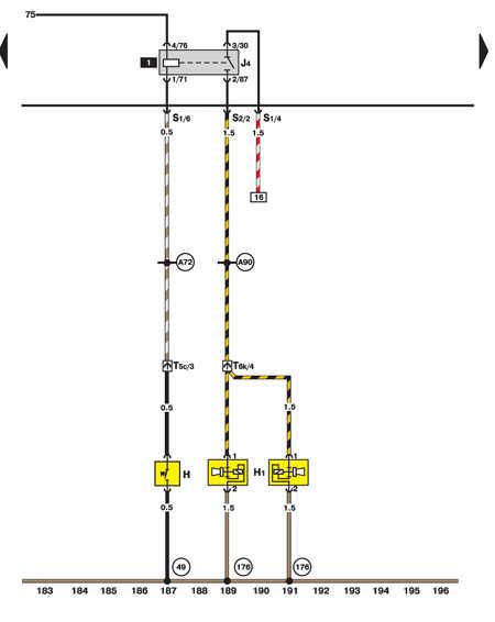 Двухтональный звуковой сигнал и реле сигнала Volkswagen Passat B5.