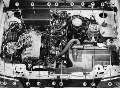 Моторный отсек Ауди 80.
