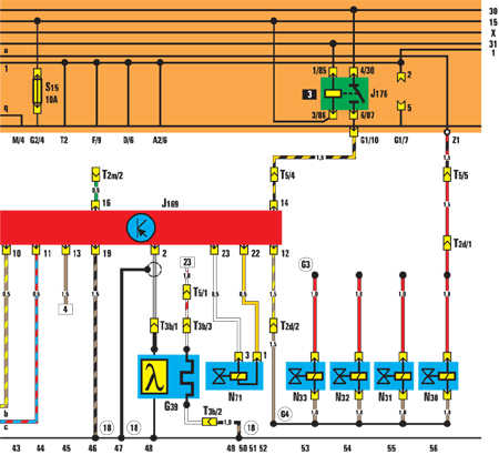 N32 – форсунка 3-го цилиндра;