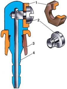 Жиклер омывателя ветрового стекла: 1 - распылитель; 2 - винт; 3 - втулка; 4.