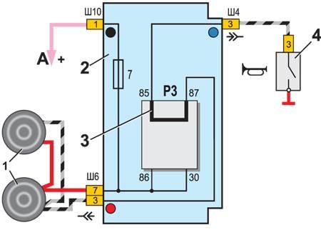 Схема включения звуковых сигналов.