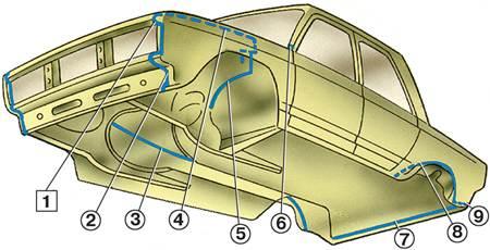-49. Сварные швы и стыки, на которые наносится уплотнительная мастика (вид кузова снизу): 1 - усилителя крыла с...
