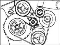 4. Наденьте новый ремень согласно схеме прокладки.  При этом натяжной ролик как при снятии поверните полностью...
