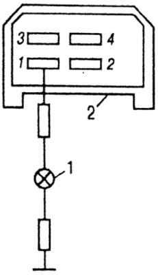 Рис. 192.  Электрическая схема проверки наличия напряжения в разъеме для реле 4943747 указателей поворотов: 1...