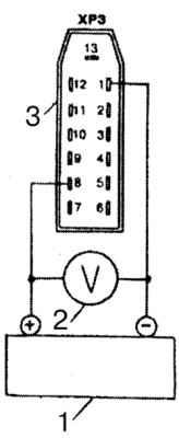 Электрическая схема проверки указателя напряжения: 1 - регулируемый источник постоянного тока, 2 - контрольный...