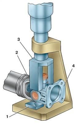 Выпрессовка игольчатого подшипника карданного шарнира: 1 - упор; 2 - вилка карданного шарнира; 3 - скоба; 4...