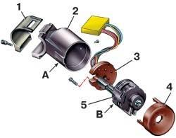 Детали выключателя зажигания: 1 - скоба; 2 - корпус; 3 - контактная часть; 4 - облицовка; 5 - замок; А...