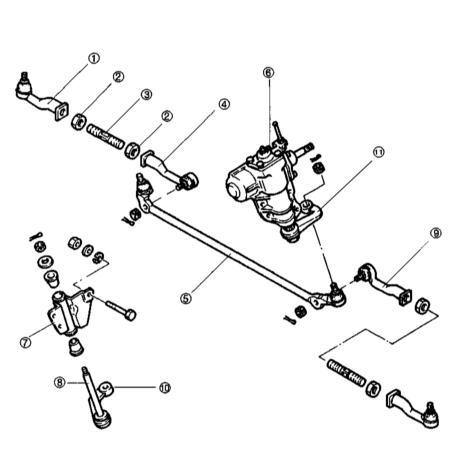 6 - Рулевой механизм 7 - Кронштейн маятникового рычага 8 - Шпиндель маятника 9 - Внутренний наконечник правой рулевой...