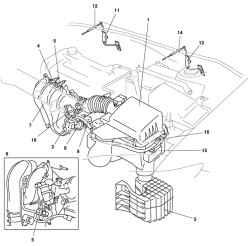 Рисунок 2.56.  Система впуска автомобиля Mazda 3: 1 - воздушный фильтр; 2 - регулятор холостого хода; 3...