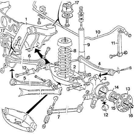 1 - задняя балка; 2 - нижний рычаг задней подвески; 3 - крепежный элемент ступицы; 4 - верхний рычаг; 5...