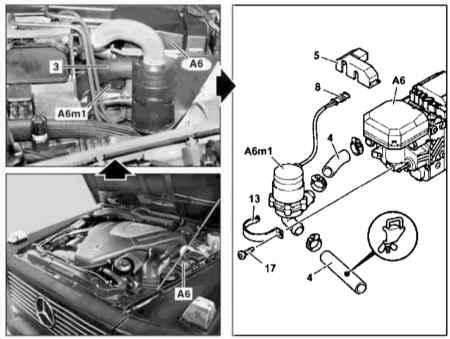 Снятие и установка циркуляционного насоса дополнительного отопителя STH (при соответствующей комплектации) Мерседес...