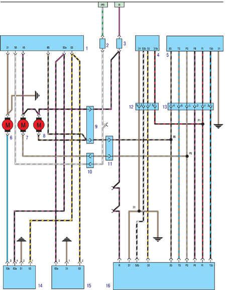 1. Блок управления омывателем фар (смонтирован на бачке) 2. Предохранитель (задние фонари) 3. Предохранитель...