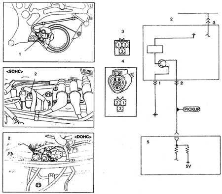 Схема включения датчика вращения коленвала (24-клапанный двигатель 3,0 л и двухвальный двигатель 3,5 л) .