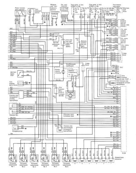 Электрическая схема автомобиля Ниссан Максима QX моделей с 1993 года выпуска.