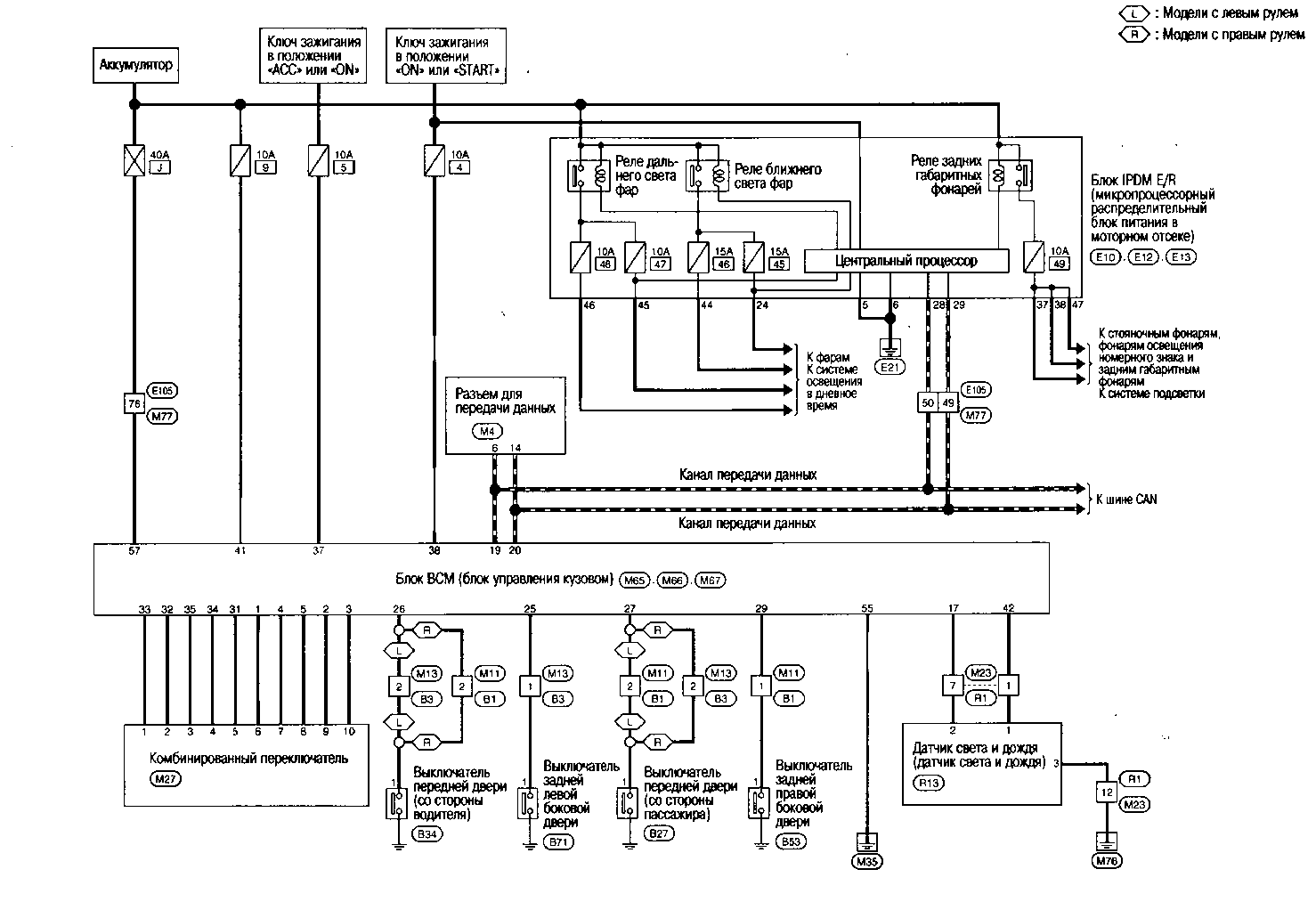 Схема системы автоматического освещения Nissan Qashqai.
