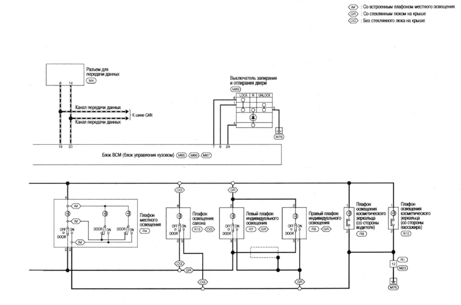 Принципиальная схема системы управления плафонами освещения салона Nissan Qashqai.