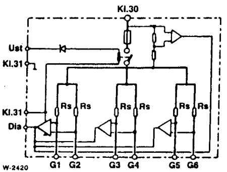 Аналогичная схема имеется на крышке реле.  G1...G6: свечи накаливания 1... 6; Kl.