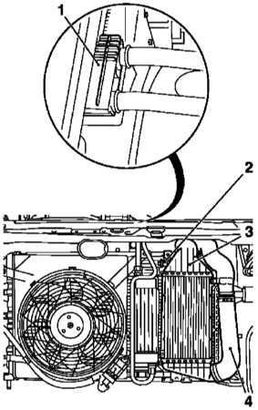 Снятие и установка промежуточного охладителя (интеркулера)Схема крепления интеркулера на моделях 1.7 л SOHC 1...
