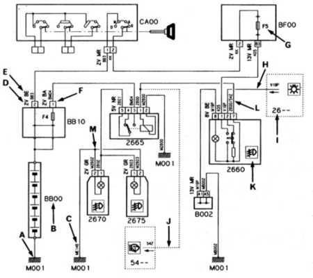 citroen xantia схема подключения вв проводов