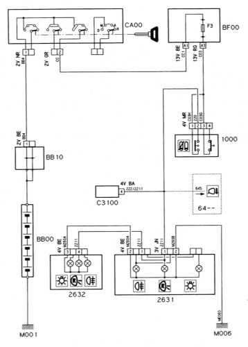 Ремонт и обслуживание/ Citroen Xantia 1993-1998 16.18 Огни заднего хода (модели с АТ) .