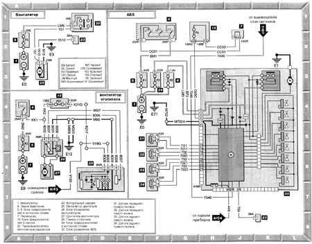 Вентилятор радиатора, вентилятор отопителя, ABS Peugeot 406.