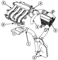 Схема впускного тракта (двигатель К4М): 1 - воздухозаборный патрубок; 2 - глушители шума впуска; 3 - корпус...