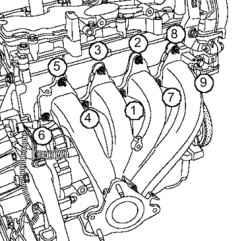 Снятие и установка выпускного коллектора (двигатели K4J, K4M) Рено Меган 2.