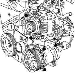 Рено Меган 2 снятие установка генератора Отверните болты фиксации генератора и выньте генератор с участием отвертки...