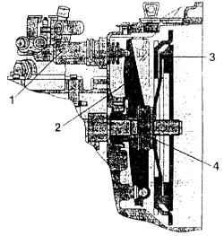 1 - рабочий гидравлический цилиндр сцепления; 2 - рычаг сцепления отключающий; 3 - сцепление; 4 - отключающий...