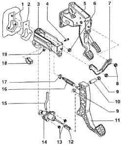 Сборочная схема педального механизма.  4. Сцепление.  Оглавление.  ОБЩИЕ СВЕДЕНИЯ.