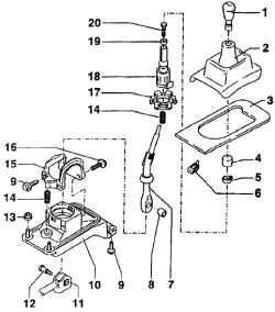 Монтажная развертка рычага переключения (переключение коробки передач 02К) .