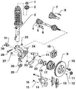 Схема установки колеса, амортизационной стойки, карданного вала и тормоза.  4 - карданный вал с шарнирами равных...