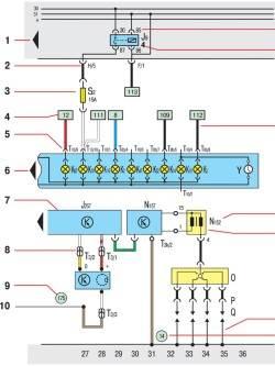 1 - стрелка указывает на следующую электрическую цепь, входящую в принципиальную схему электрооборудования.
