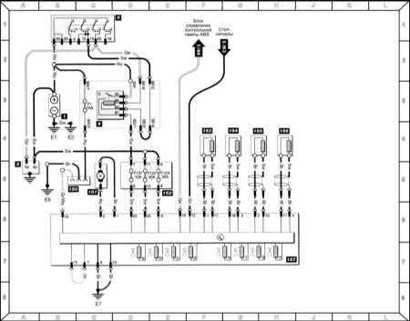 ABS (модели с марта 1995 г.) Обозначение компонентов 1 - Батарея 2 - Стартер 5 - Выключатель зажигания 6...