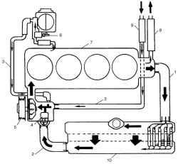 Блок-схема системы охлаждения двигателя: 1 - подводящий шланг радиатора; 2 - отводящий шланг радиатора; 3...