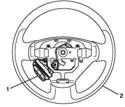 b) Установите переключатель управления аудиосистемой 1 на рулевое колесо 2. Установка переключателя управления...