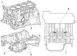 Блок цилиндров и схема прохождения воздушного потока при вращении коленчатого вала двигателя: 1 - камера насоса...