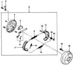 Задний барабанный тормозной механизм: 1 - штуцер;2- пылезащитный колпачок; 3 - задний барабанный механизм в сборе; 4...